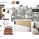 Planche d'ambiance chambre parentale par Virginie Vaudenay décoratrice UFDI Couleur de vie Bué en Sancerre dans le Cher (18)